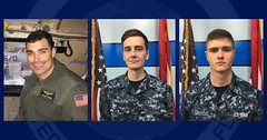 U.S. Navy file photos of Lt. Steven Combs, left; Aviation Boatswain's Mate (Equpiment) Airman Matthew Chialastri, center; and Aviation Ordnanceman Airman Apprentice Bryan Grosso, right. (Courtesy photos)