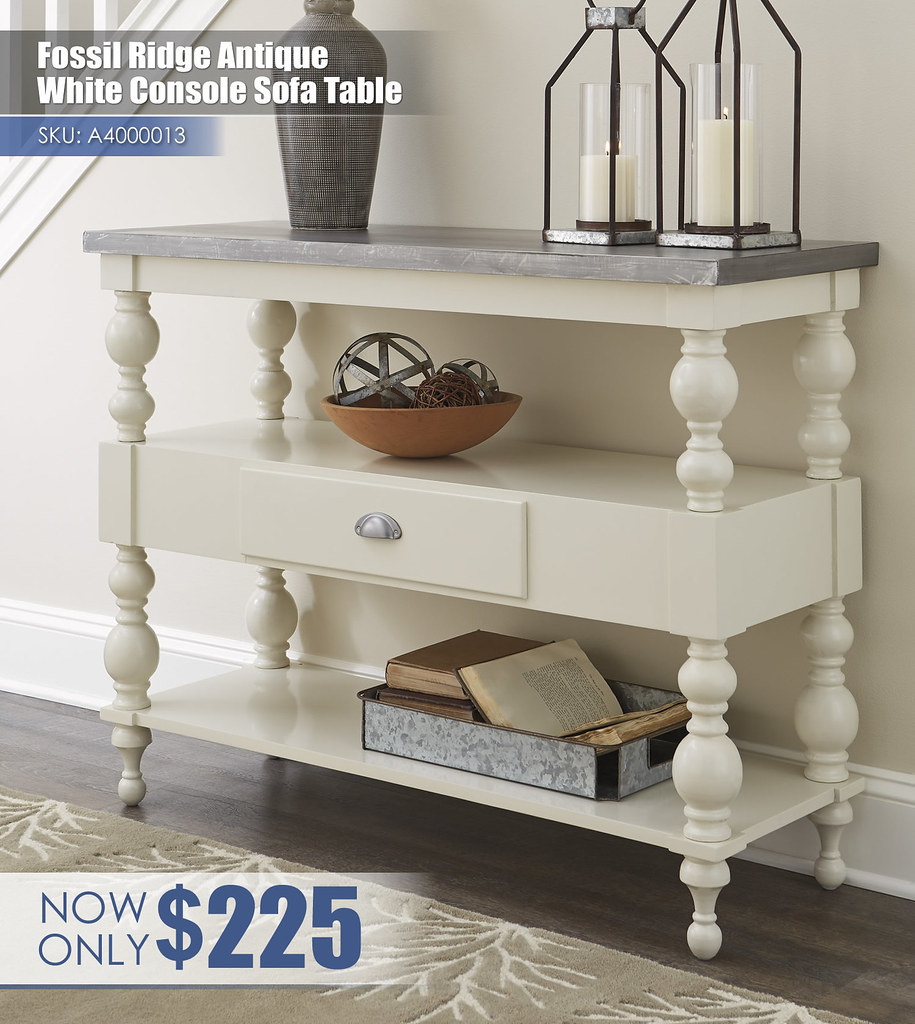 A4000013 - Fossil Ridge Antique White Console Sofa Table $225