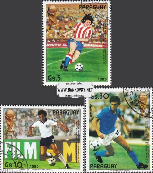 Známky Paraguaj 1985 MS vo fubale 19886, razítkovaná séria