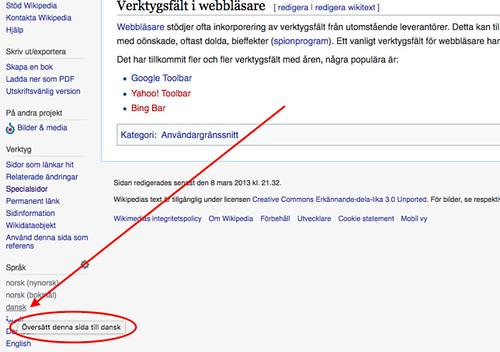 Svensk Wikipedia - Verktygsfält - Oversätt denna sida till dansk