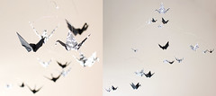 Black and White Paper Crane Mobile