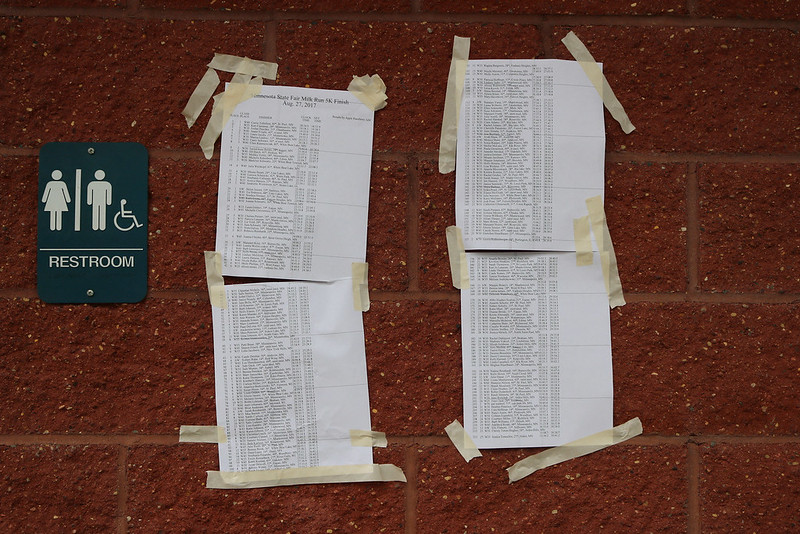 four pieces of 8.5x11 white paper with lots of words printed, all held to a brick building with lots of messy masking tape