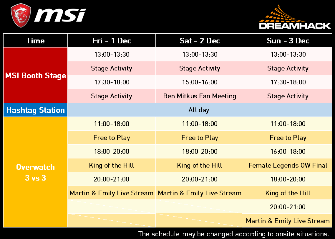 MSI@DHW17-Booth Schedule