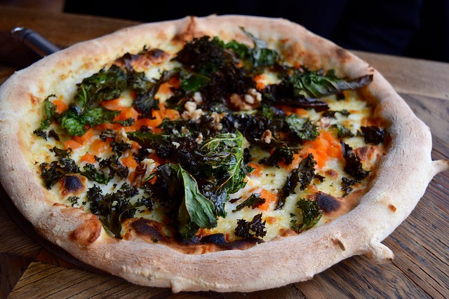 Goats Curd, Pumpkin & Kale Pizza at Chapter, Canterbury #pizza #canterbury #sourdough