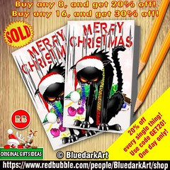 SOLD! #Evil #Black #Cat VS #Christmas #Tree #Greeting #Cards :arrow_right: https://goo.gl/1Qs1cG  #Design by BluedarkArt - Redbubble #Shop :arrow_right: https://www.redbubble.com/people/BluedarkArt/shop :gift:  Many Thanks to the Buyer! :gift:  #Buy any 8