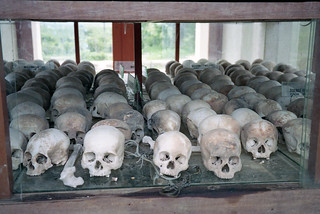 Skulls inside the Choeung Ek memorial outside of Phnom Penh.