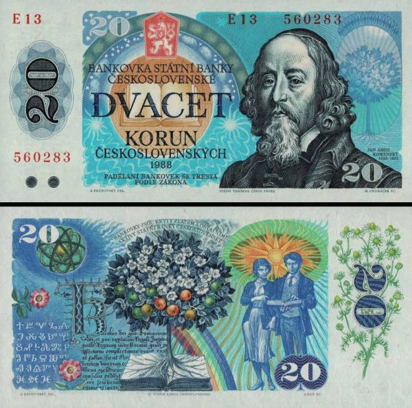 20 Kčs II. Dvadsať korún Československo 1988, P95