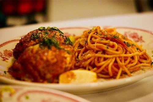 Spaghetti and a big meatball