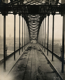 View along the Tyne Bridge nearing completion
