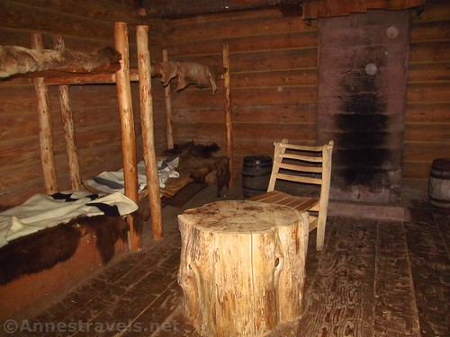 Inside one of the rooms at Fort Clatsop, Lewis & Clark National Historical Park, Oregon