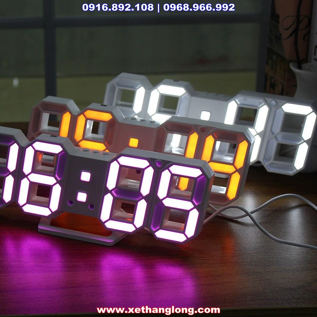 Đồng hồ LED treo tường 3D với 3 màu Trắng, Hồng và Vàng