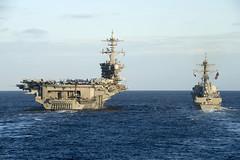 USS Wayne E. Meyer (DDG 108) transits alongside USS Carl Vinson (CVN 70) during training in the Pacific, Nov. 6. (U.S. Navy/MCSN Jasen Morenogarcia)