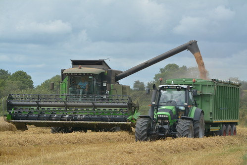 Deutz Fahr 6095 HTS Combine Harvester unloading Winter Wheat to a Beresford Grain Trailer drawn by a Deutz Fahr Agrotron TTV 620 Tractor