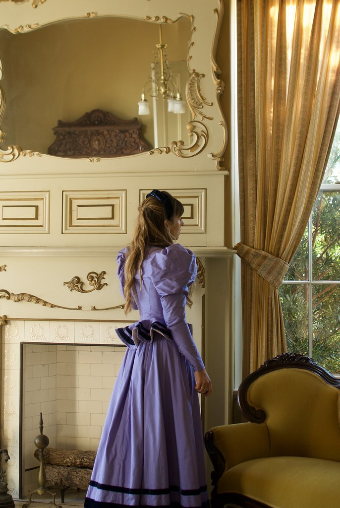 Periwinkle Silk Dupioni 1890's Walking Dress