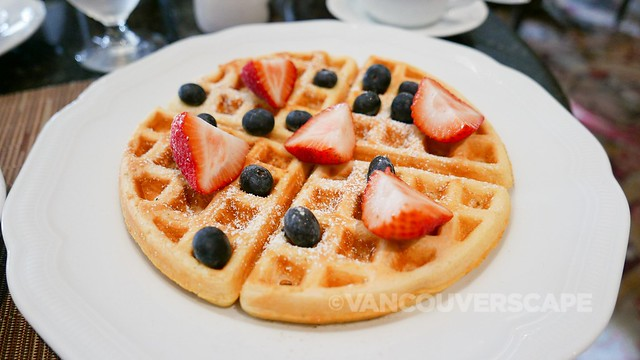 Buttermilk waffles with seasonal berries