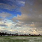 Snowy skies over Ashton Park, Preston