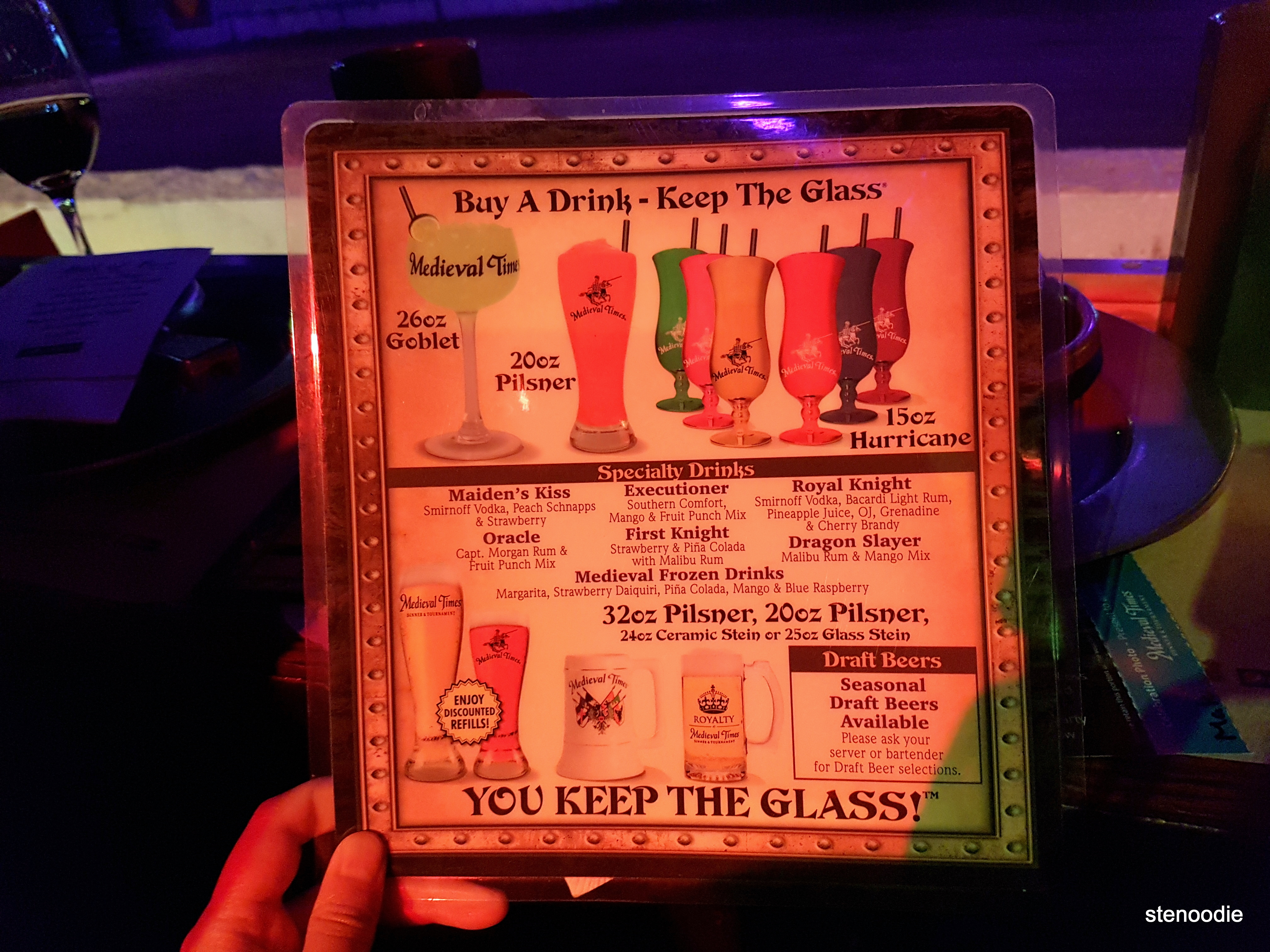 Medieval Times Dinner & Tournament drink menu