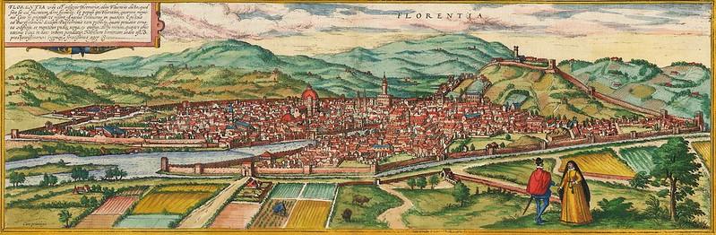 Georg Braun & Franz Hogenberg - Florentia urbs est Insignis Hetruariae, olim Fluentia dicta (c.1572)