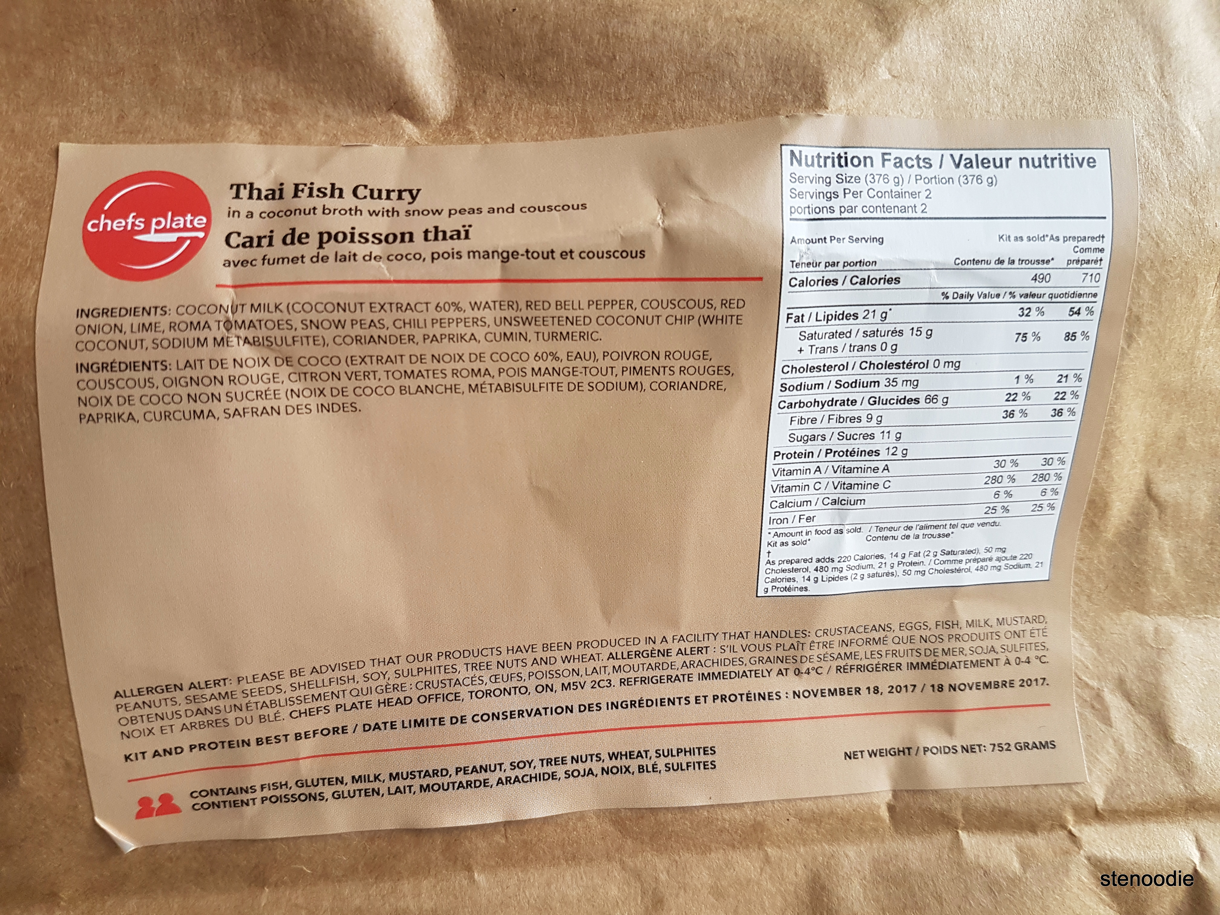 Thai Fish Curry nutrition information