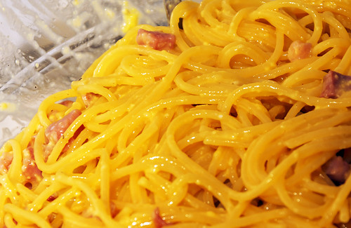 spaghetti alla carbonara with bacon, eggs, and pepper