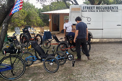 Kerrville weekend 022 Saturday trike discussions and test rides from Rebecca di Luce
