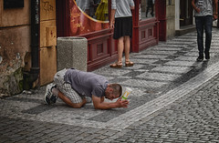 Prague beggar - appreciate what you have before it turns into what you had!