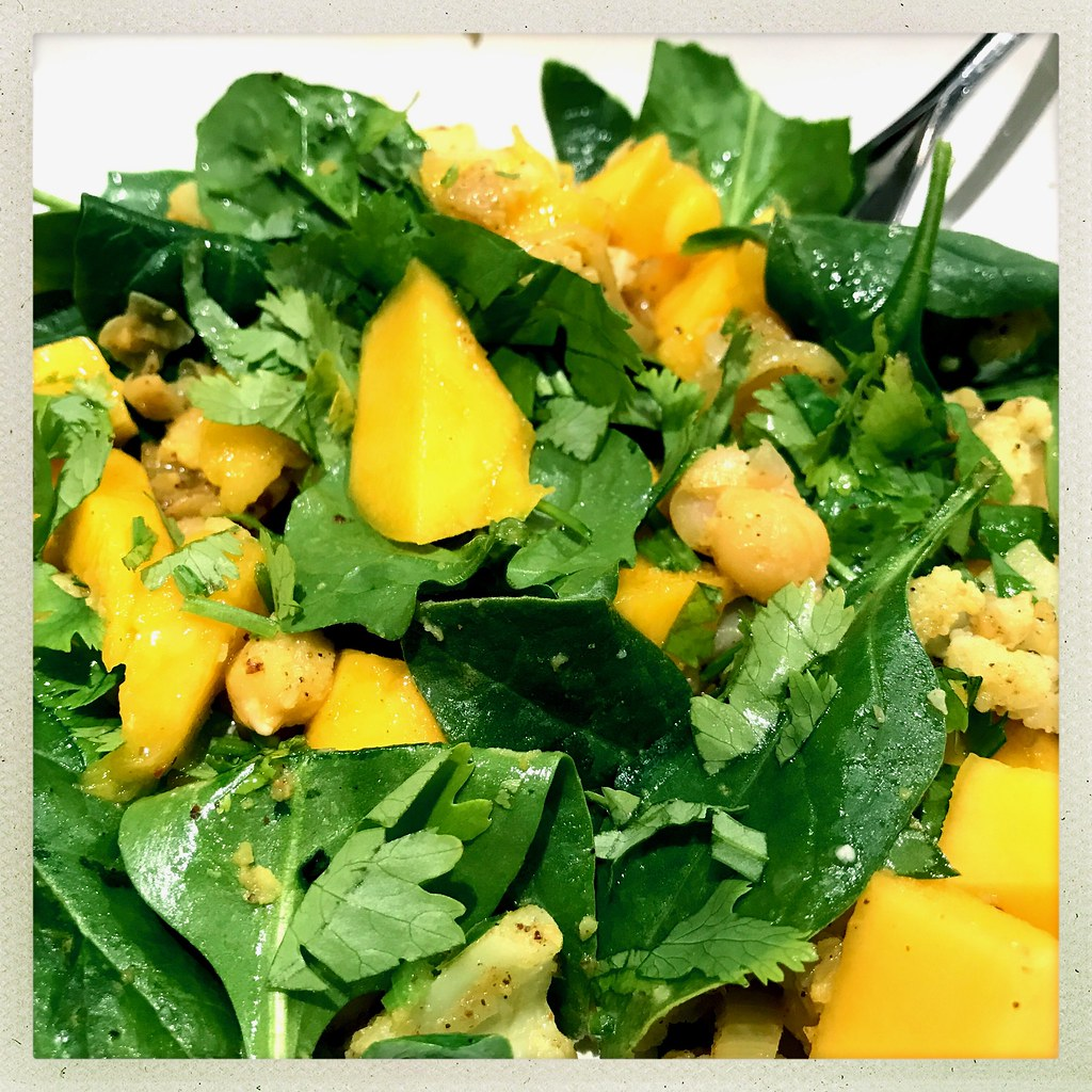 Alfonso mango and curried chickpeas salad