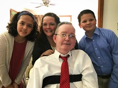 We're in Virginia to celebrate the life of Lisa's grandmother, Phyllis Barbour, and we took the opportunity for a rare photo with Lisa's dad Ricky who is looking sharp in his tie! He has fought bravely for decades with MS, so it's great to see him out of