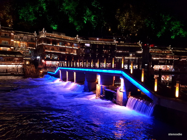 Fenghuang County bridge at night