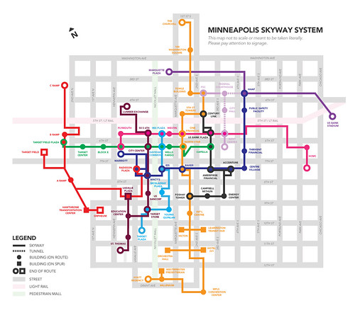Map, Proposed redesign of the wayfinding system for the Minneapolis Skyway system, by Brandon Hundt