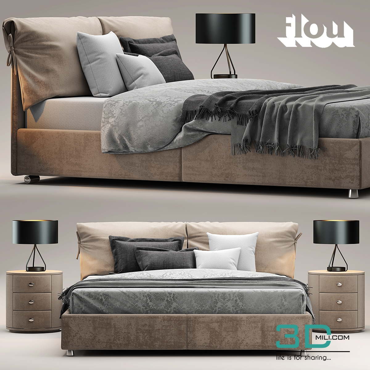 94. Bed flou Letto Nathalie - 3D Mili - Download 3D Model - Free 3D ...