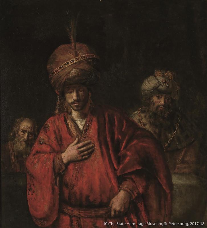 レンブラント・ハルメンスゾーン・ファン・レイン《運命を悟るハマン》(1660年代前半)エルミタージュ美術館所蔵