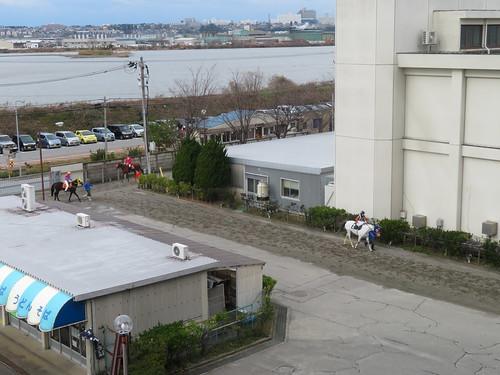 金沢競馬場の階段から見下ろした馬道