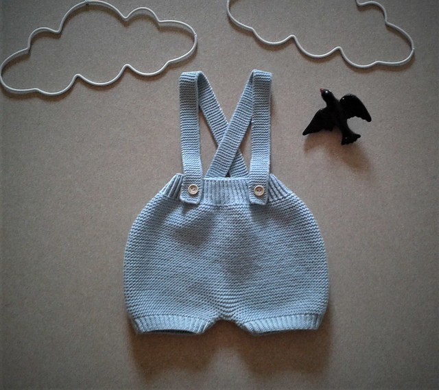 100% Extrafine Merino Wool Handknitted Baby Bloomers/ Diaper Cover / Baby Wool Soaker / Cloth Diaper Cover / Baby Shorts with suspenders