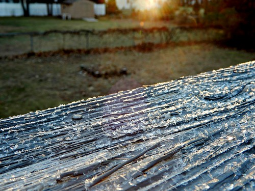 weather frost sun sunrise queensburyny november ice railing fence