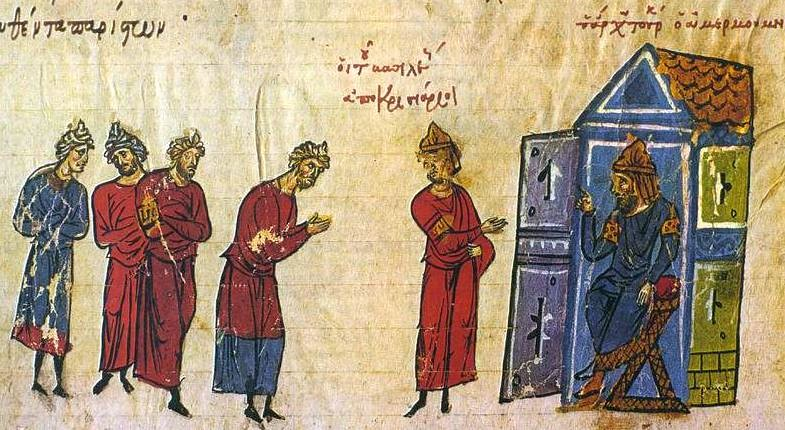 Byzantine Emperor Basil sent as ambassador to the Caliph Al-Mu'tasim in 838
