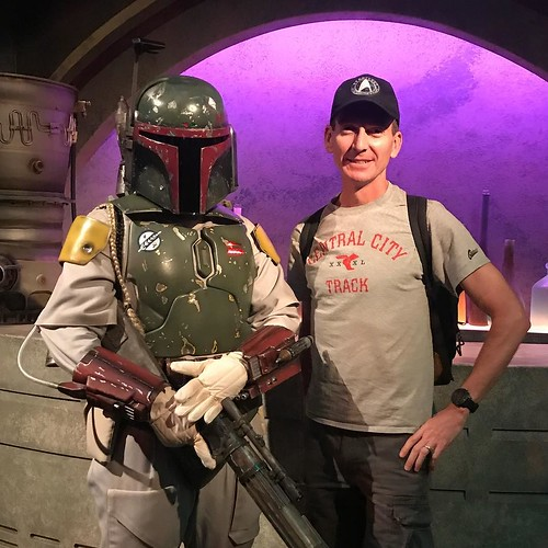 """Dad! You're taller than Boba Fett!"" At least he didn't disintegrate me for the hat!"