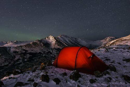 Camping on Flattop. Chugach State Park, Alaska