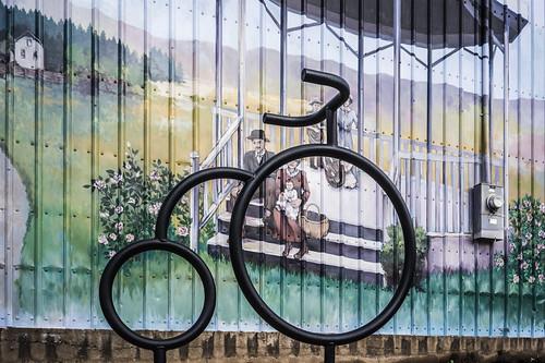 bike rack and mural