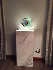 Calcutta Marble Laminate Pedestal with Ambient Light