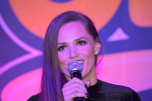 Tori Black talking into the mic