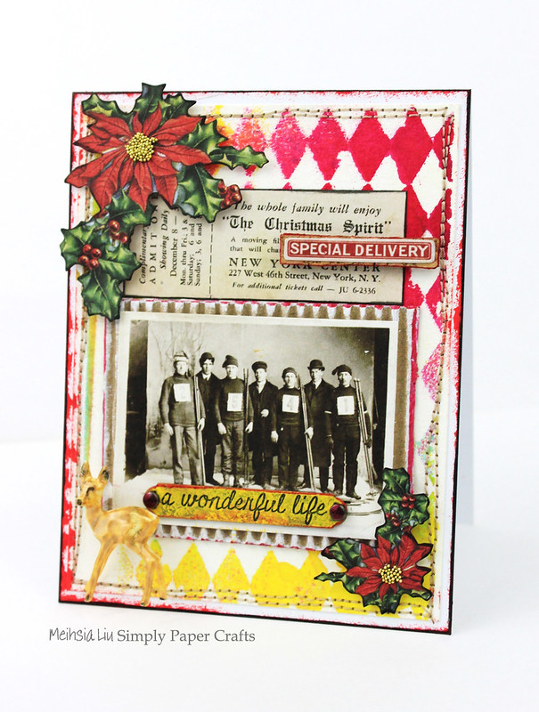 Meihsia Liu Simply Paper Crafts mixed media card Christmas Stitching Simon Says Stamp Monday Challenge Tim Holtz 2
