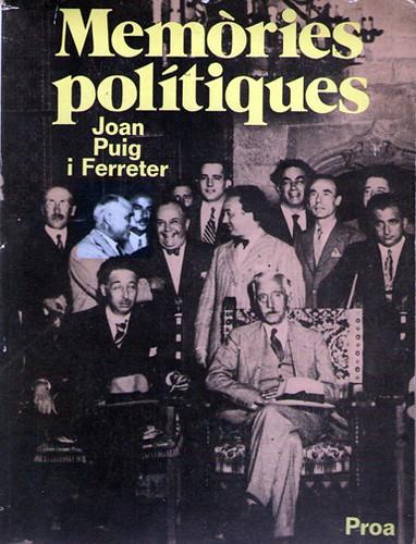 17k15 Memorias política de Puig i Ferreter Portada Uti 385