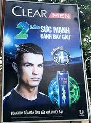 Cristiano Ronaldo appears in a Clear Men ad in Saigon.