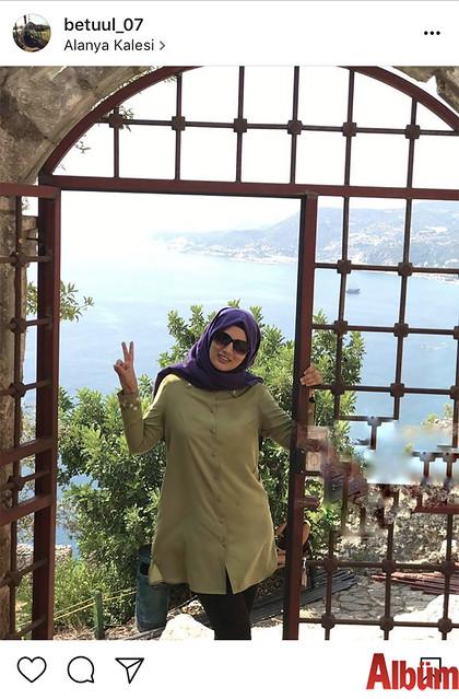 Betül Şahintürk, güneşli havayı fırsat bilip Alanya Kalesi'nde harika bir gün geçirdi.