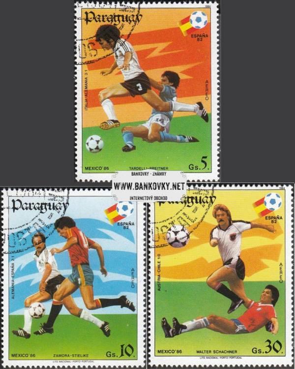 Známky Paraguaj 1984 MS vo fubale 1982 a 86, razítkovaná séria