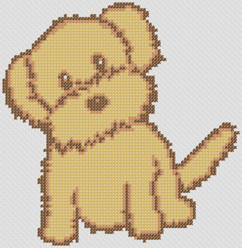 Preview of Simple cross stitch patterns for kids: Fluffy Puppy