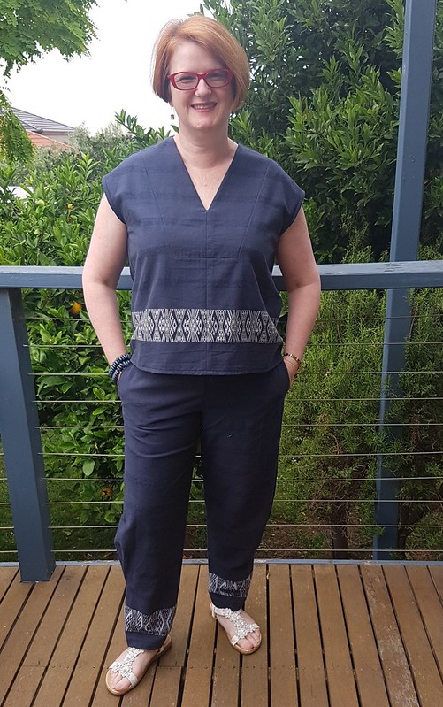 Tessuti Leni top and Style Arc Besharl pants in Thai cotton