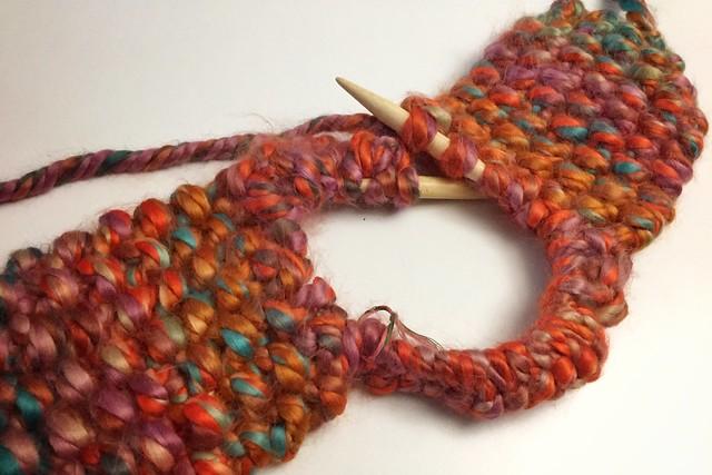 Knit Earflap Hat WIP