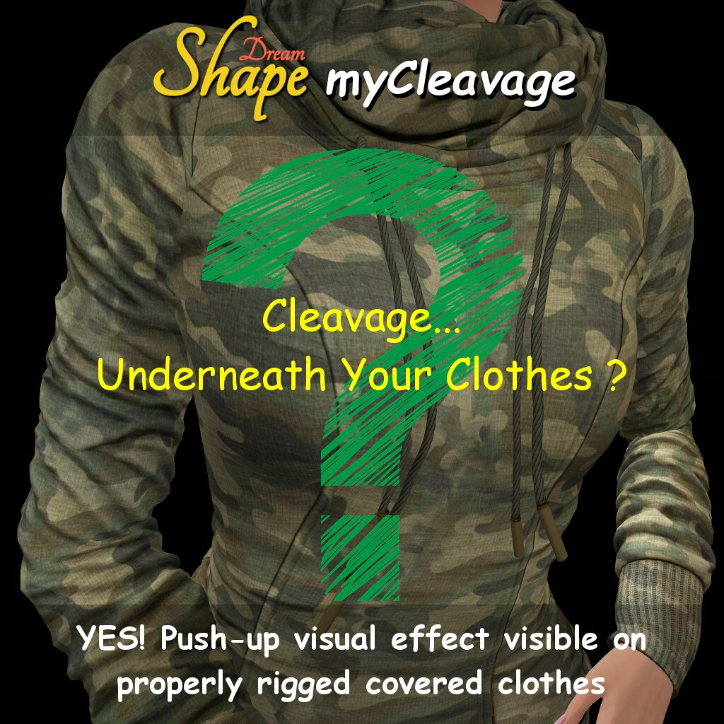Hud-based Cleavage with push-up effect on covered clothes